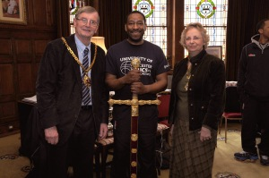 Paul James with the Mayor and the Mayoress of Worcester