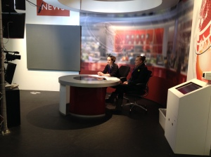 Becky and myself reading the news - could we be the next BBC presenters?