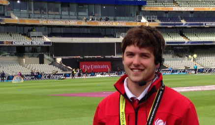 Me working at the ICC Champions Trophy at Edgbaston